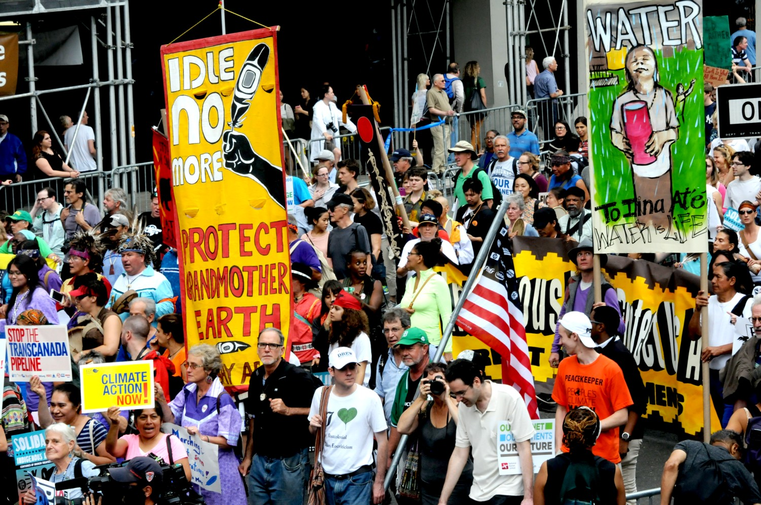 People's Climate March, September 2014: Environmentalists are hailing President Obama's decision to reject the Keystone XL Pipeline, in favor of promoting infrastructure supporting clean, renewable energy © 2015 Karen Rubin/news-photos-features.com
