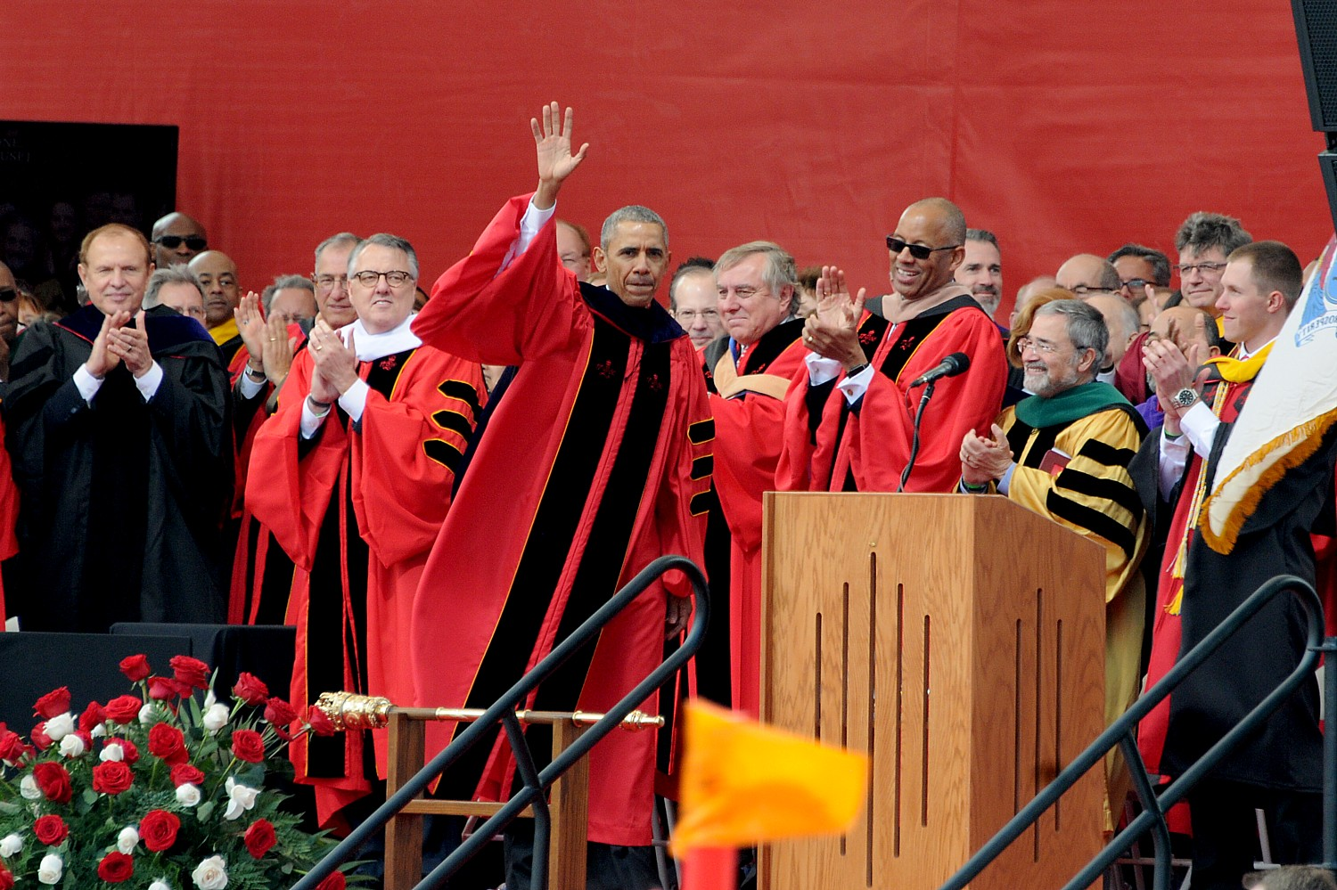 President Obama gets standing ovation after addressing the 250th anniversary Rutgers University Commencement © 2016 Karen Rubin/news-photos-features.com