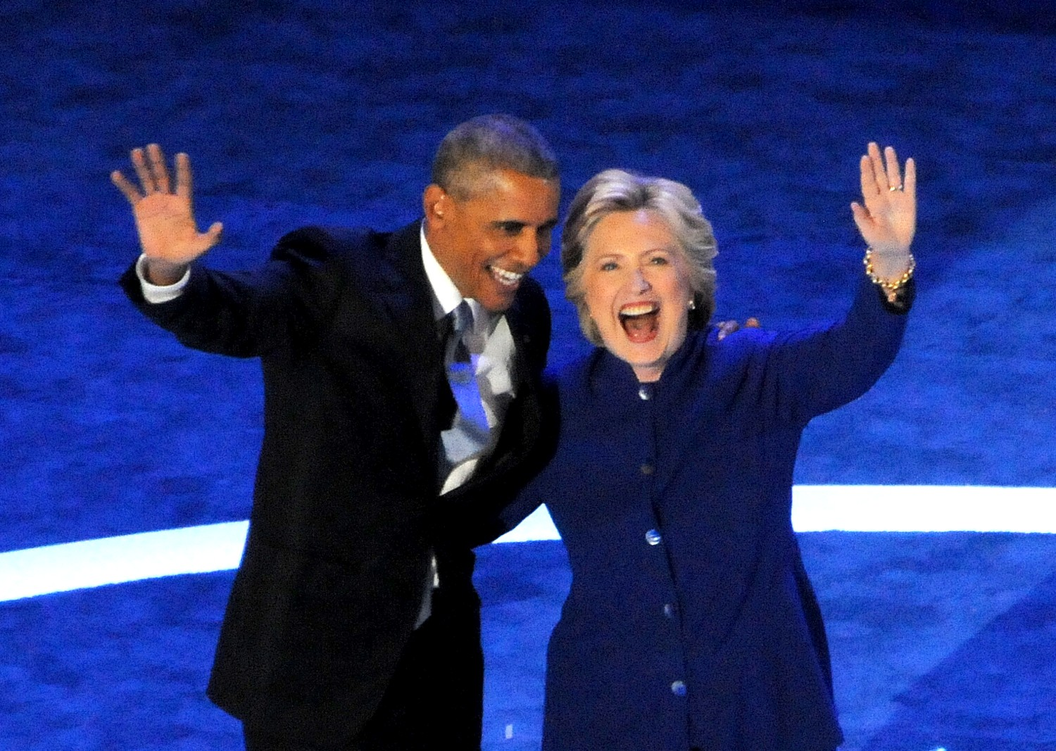 President Obama and Democratic nominee for president Hillary Clinton get thunderous cheers aqt the Democratic National Convention  © 2016 Karen Rubin/newsphotos-features.com
