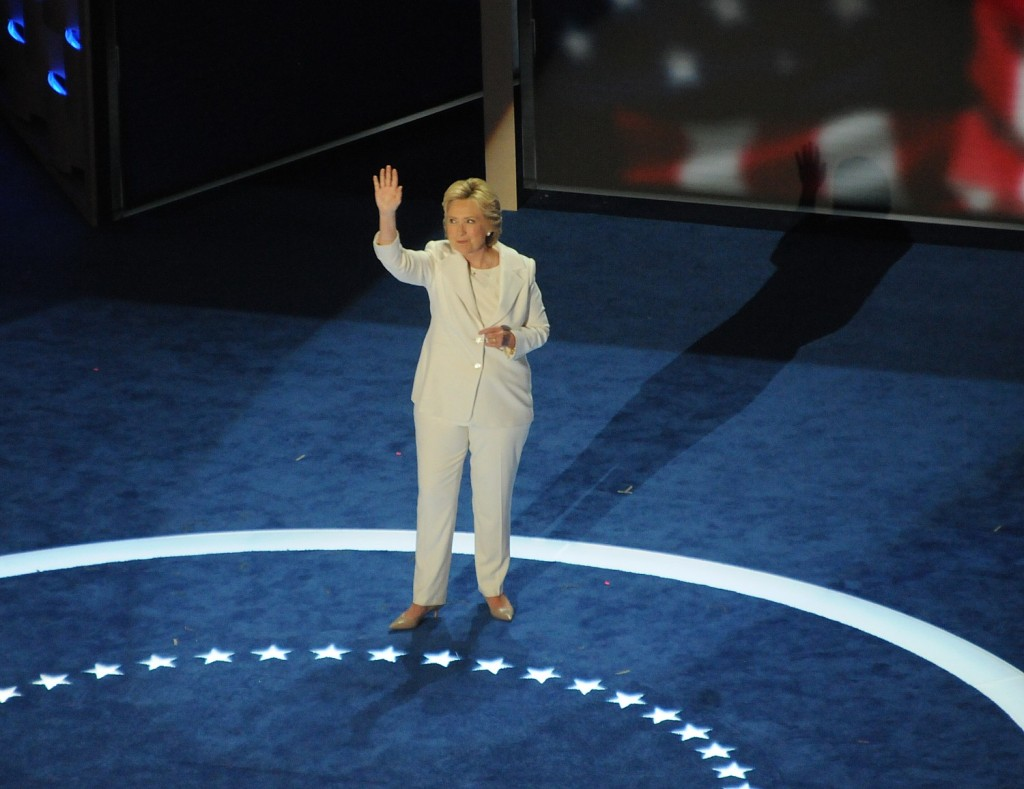 Hillary Rodham Clinton makes history for the second time at the Democratic National Convention becoming the first woman to be nominated for president of a major party © Karen Rubin/news-photos-features.com