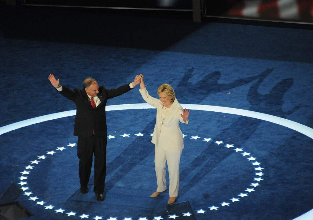 Hillary Clinton and Tim Kaine cheered at Democratic National Convention  © Karen Rubin/news-photos-features.com