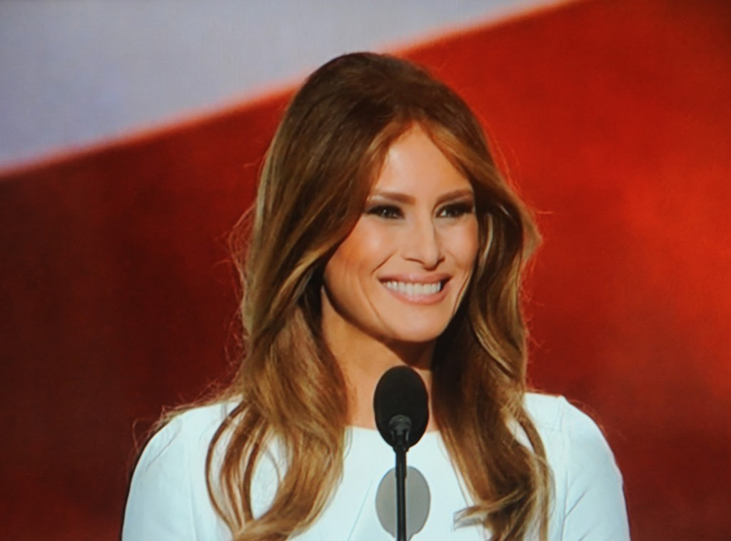 Melania Trump in her widely anticipated speech to the Republican National Convention, manages to lift whole sections from Michelle Obama's speech to the 2008 Democratic National Convention © 2016 Karen Rubin/news-photos-features.com
