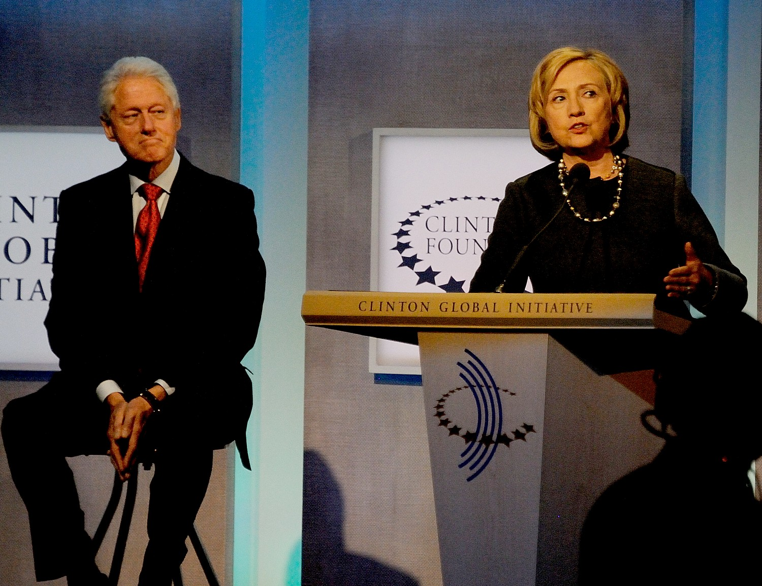 Hillary Clinton addressing the Clinton Global Initiative in 2014, as President Bill Clinton looks on © 2016 Karen Rubin/news-photos-features.com