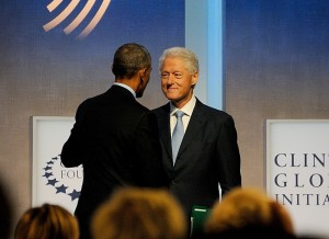 President Bill Clinton greeting President Barack Obama, at the 2014 CGI © 2016 Karen Rubin/news-photos-features.com