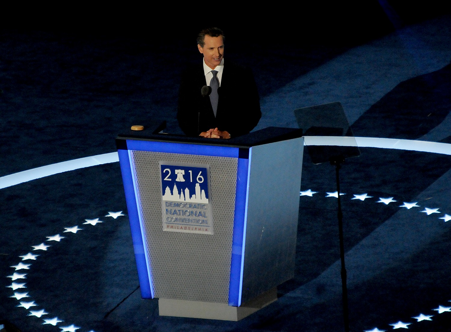California's Lt. Governor Gavin Newsom addresses the Democratic National Convention in Philadelphia on July 27, 2016 © 2016 Karen Rubin/news-photos-features.com