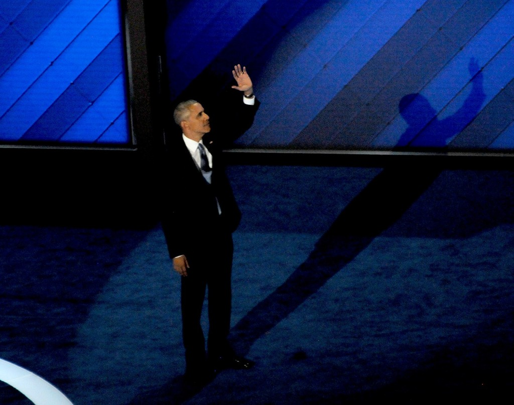 President Barack Obama addresses the Democratic National Convention, Philadelphia, July 27, 2016 © 2016 Karen Rubin/news-photos-features.com