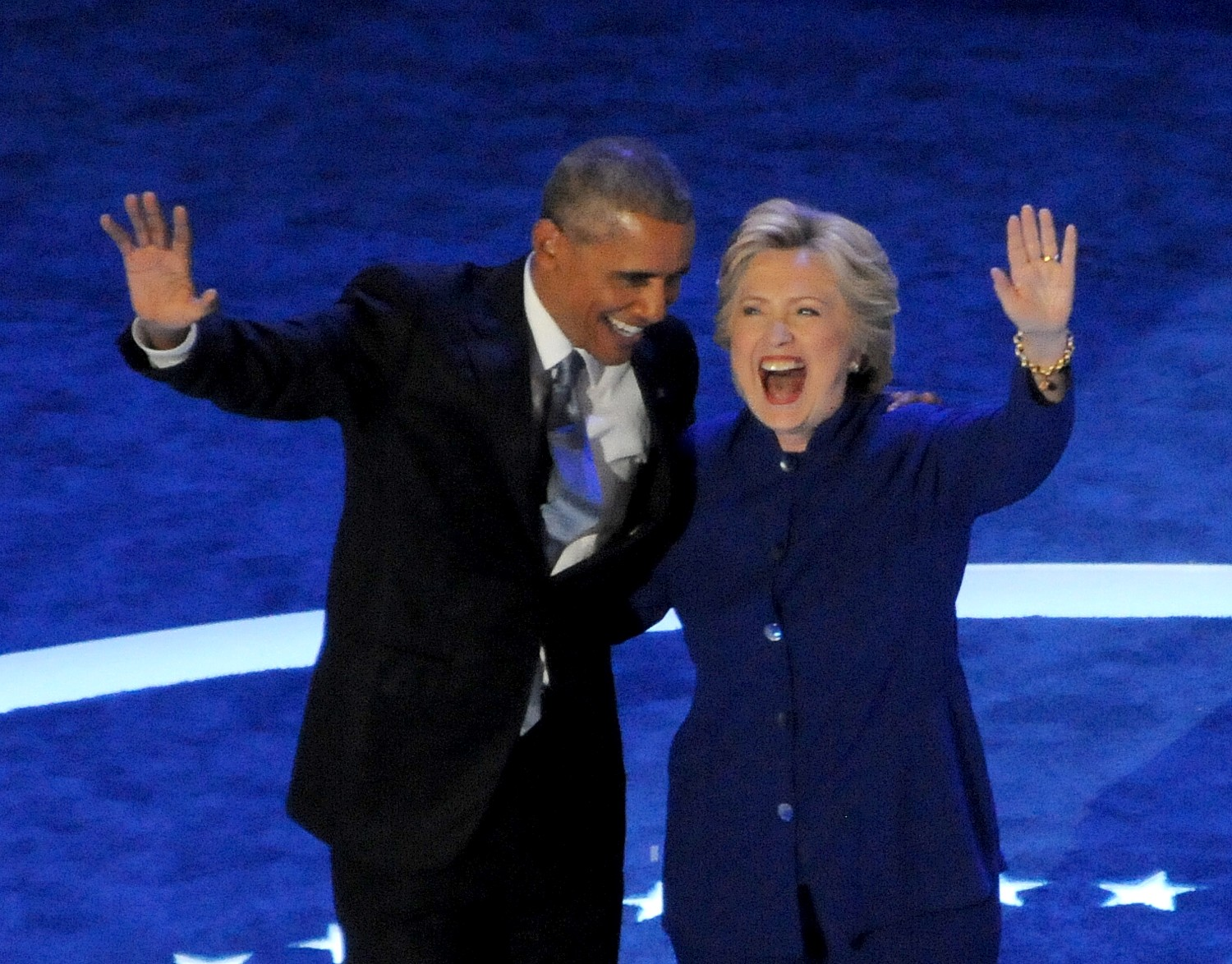 President Barack Obama with Hillary Clinton, first woman to become the nominee for president of a major party, after his speech to the Democratic National Convention, Philadelphia, July 27, 2016 © 2016 Karen Rubin/news-photos-features.com