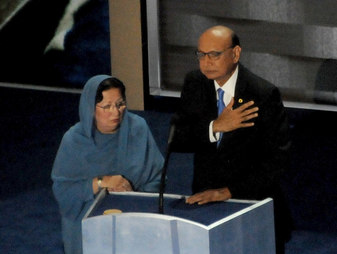Khizr M. Khan and his wife, Ghazala, speak emotionally of the ultimate sacrifice of their son, Capt. Humayun Khan, at the Democratic National Convention in Philadelphia, July 28, 2016, and pointedly say to Donald Trump, 'You have sacrificed nothing and no one.' © 2016 Karen Rubin/news-photos-features.com