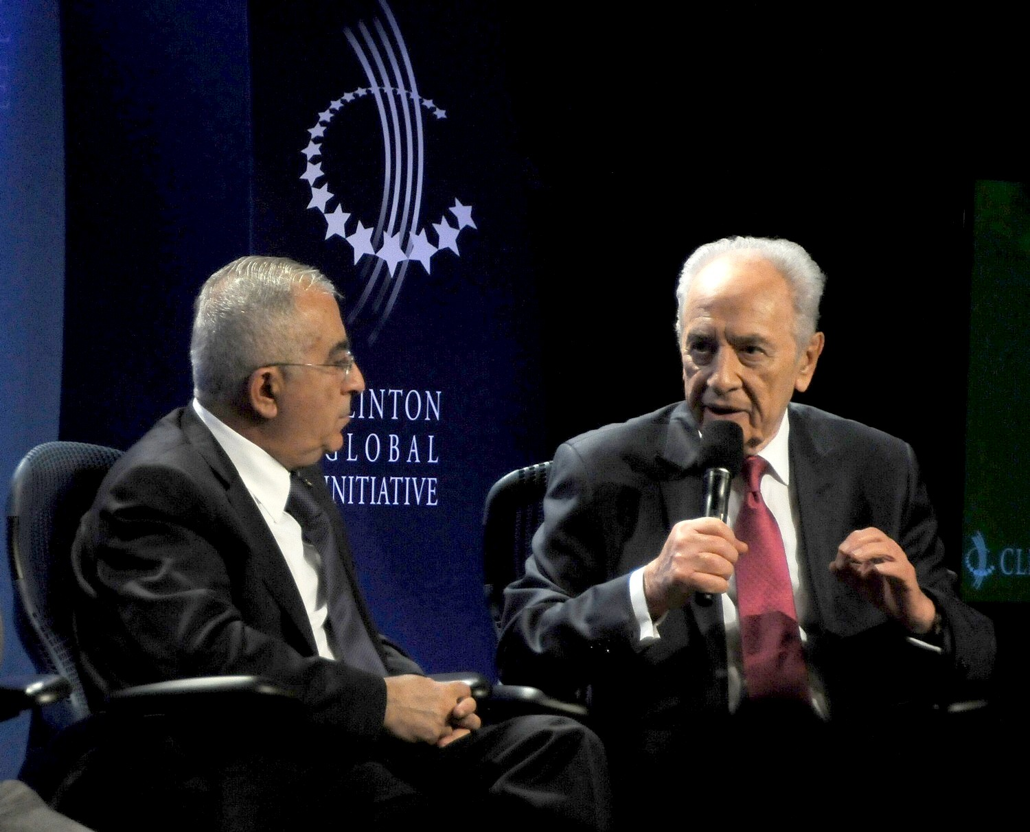 """One thing both of us agree –  not just governmental intervention but private initiative…we all are ready to accept high tech in their countries- that has nothing to do with territory… it's global,"" Israel President Shimon Peres tells Palestine National Authority Prime Minister Salam Fayyad at 2010 Clinton Global Initiative. ""We are ready in Israel to share what we have."" © 2016 Karen Rubin/news-photos-features.com"