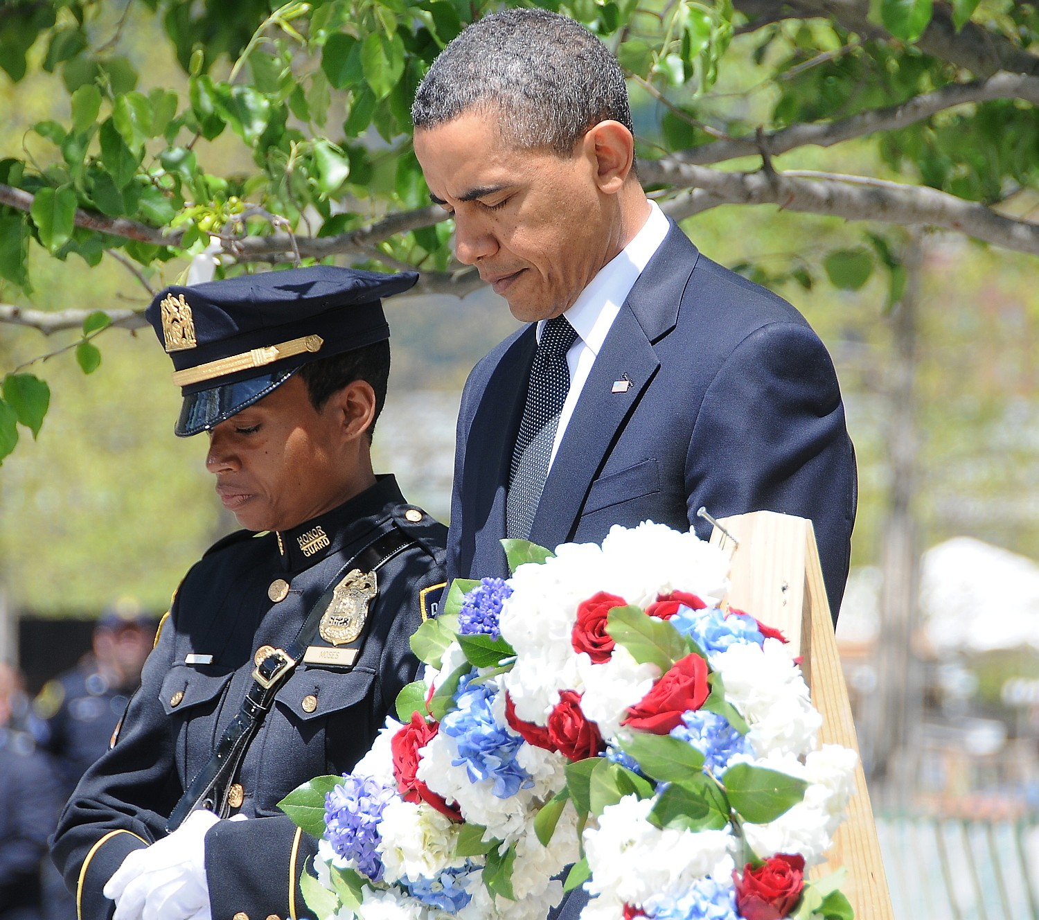 President Obama at dedication of September 11 Memorial at the site of the World Trade Center towers, New York City, May 2011 © 2016 Karen Rubin/news-photos-features.com