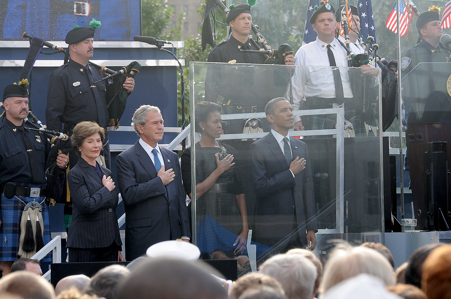 President Obama and First Lady Michelle Obama, President George W. Bush and First Lady Laura Bush at the 10th anniversary 9/11 Commemoration at the site of the World Trade Center, New York City © 2016 Karen Rubin/news-photos-features.com