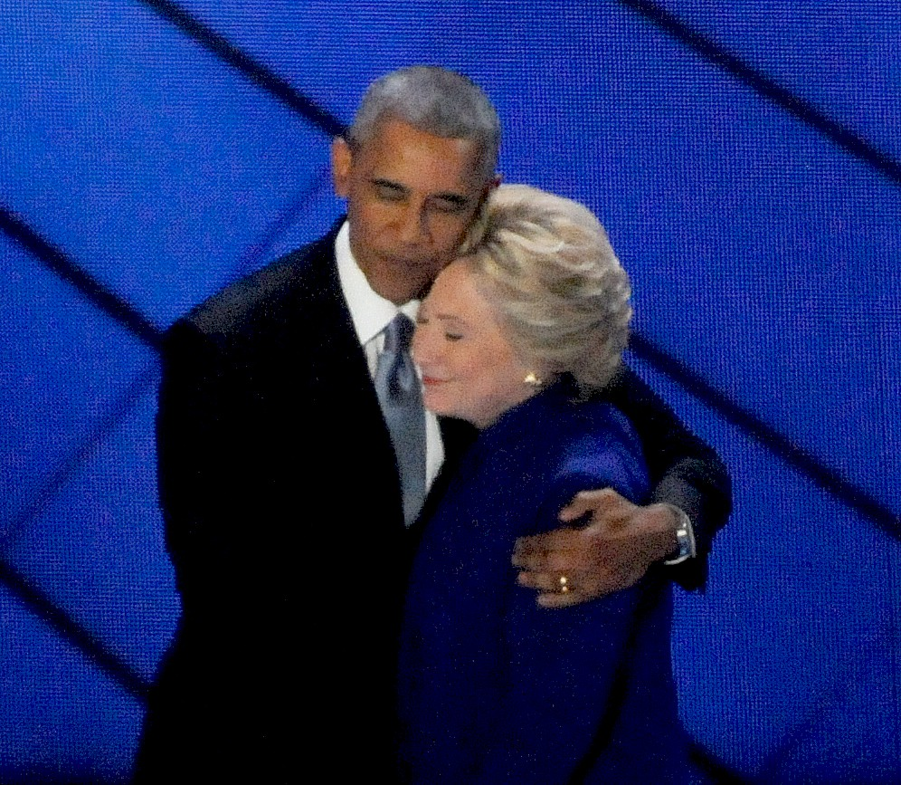 President Obama and Democratic Presidentical Candidate Hillary Clinton at the Democratic National Convention, Philadelphia  © 2017 Karen Rubin/news-photos-features.com