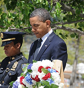 President Barack Obama lays wreath at Ground Aero, World Trade Center, New York City, May 5, 2011, four days after death of Osama bin Laden © 2017 Karen Rubin/news-photos-features.com